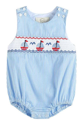 Blue Stripe Sail Boat Smocked Bubble
