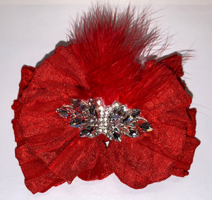 Rhinestone & Feather Headband Bow