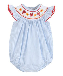 Blue Striped Crawfish Smocked Flutter Romper