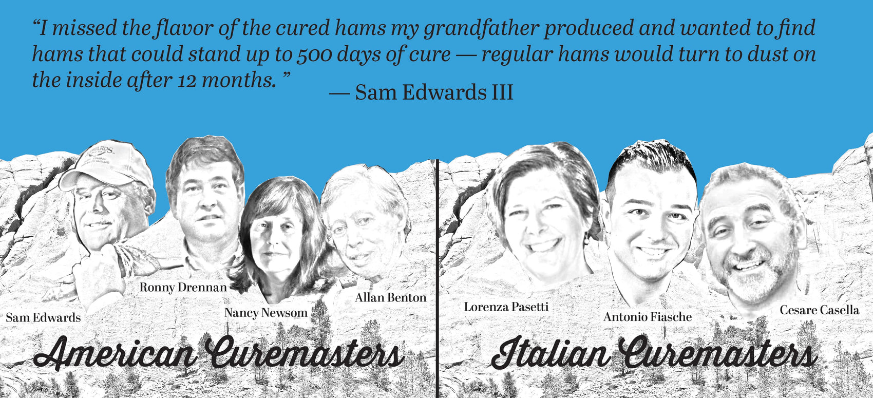 America's most celebrated curemasters are now curing long-aged hams from our 100% heritage breed pigs!