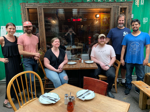 Team GERTIE on Heritage Radio's The Main Course OG broadcasting from Roberta's in Bushwick, Brooklyn. Emily Pearson, Nate Adler, Katy Moore, Will Edwards, Patrick Martins, Jeet