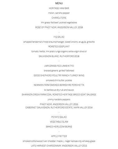 Menu for Guest Chef Dinner with Howard Hanna at Farmstead at Longmeadow Ranch