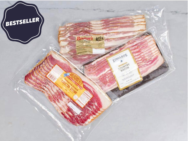 HERITAGE BACON MASTERS BOX, from three of America's Oldest Curemasters: One each from Edwards (1926, VA), Benton (1947, TN) & Broadbent (1909, KY) — three 12-16 oz packs
