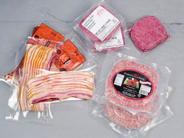 SAUSAGE, BACON, BURGER PACKAGE, 9lb total, from our supremely marbled, pasture raised heritage breeds