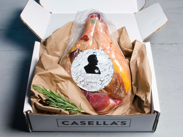CASELLA'S HERITAGE PROSCIUTTO from Cesare Casella's — delicate and nutty, aged 18-24 months —boneless, one ham, 9-10lb