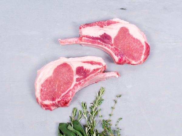 CENTER LOIN DOUBLE-CUT PORK CHOPS, Two 24-28 oz chops — Berkshire