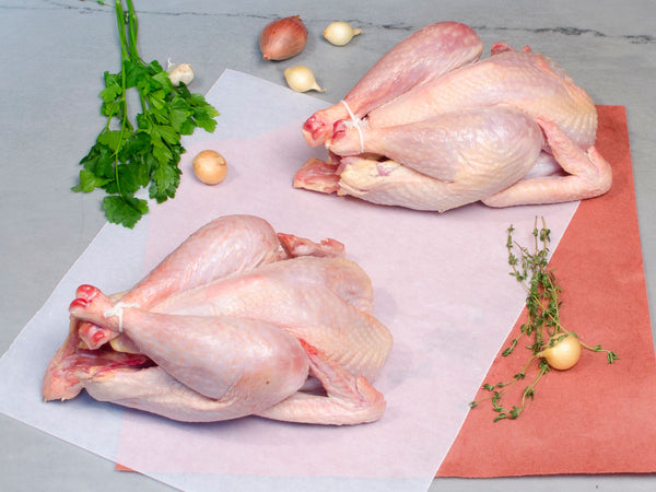 WHOLE CHICKENS, Three 1-2lb birds — New Hampshire or Barred Plymouth Rock