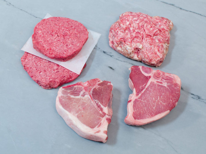 THE ESSENTIALS BOX, 3.75lb, Easy Ingredients for Everyday Meals — pasture-raised, heritage breed Chops, Burgers, and Ground Pork