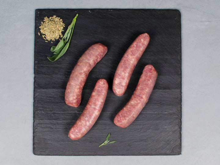 PORK FENNEL SAUSAGE, 12 links, 3lb total — Our Heritage Breed Pork Cured in Kansas City, MO