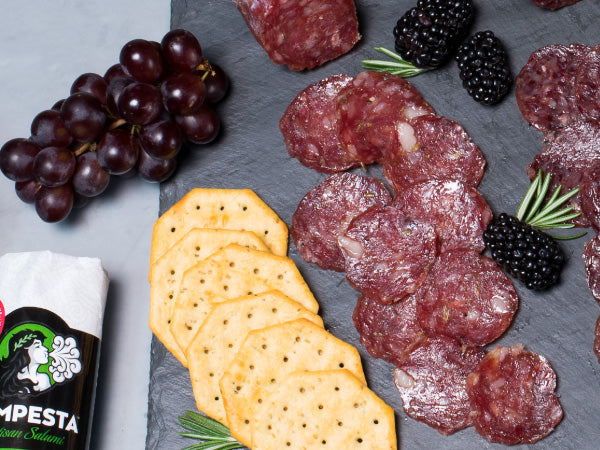 HERITAGE NOSTRANO SALAMI, Three 5 oz packs, Tempesta Artisans — seasoned with pink peppercorns, white wine, and garlic