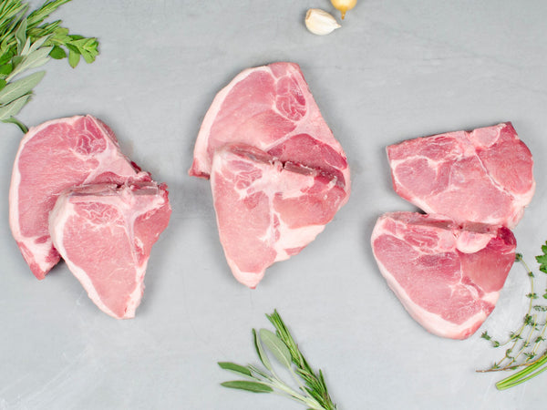 PORK CHOP 4 BREED TASTING KIT, Eight 14oz porterhouse chops, two each from 4 heritage breeds