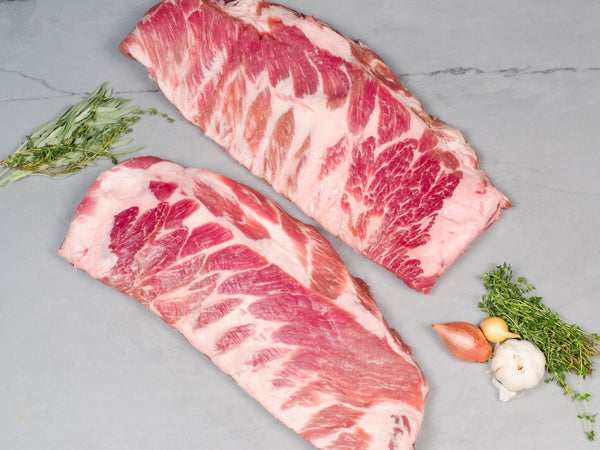 RIB PACK: SPARE RIB AND SPLIT ST. LOUIS RIB, One Spare Rib and one Split St. Louis — Berkshire or Red Wattle