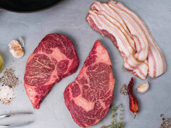 Wagyu ribeye steaks and heritage bacon | a perfect gift | pasture raised | Heritage Foods