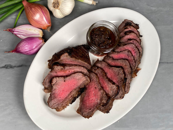 BLACK GARLIC MARINATED WAGYU TRI-TIP ROAST, one 4-4.5lb boneless roast pre-seasoned by Tempesta Artisans — Pure Akaushi Wagyu