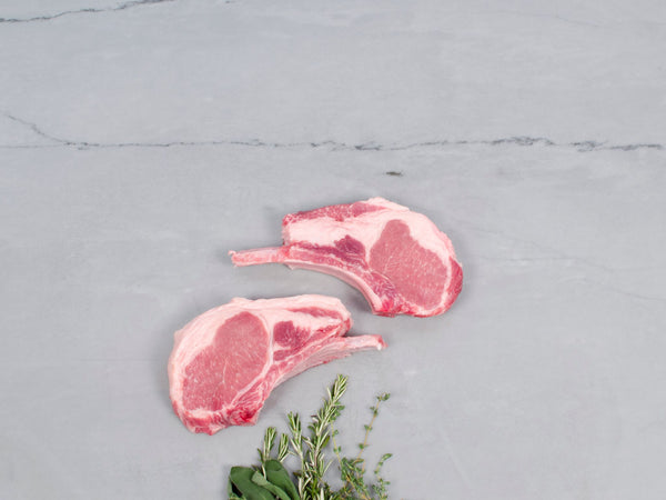 DOUBLE-CUT PORK LOIN CHOPS, Four 18 oz chops — Berkshire