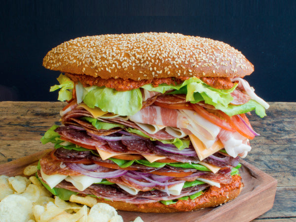 ITALIAN SUB LUNCH SET — 3 oz sliced Casella's Prosciutto, 12 oz Finochietta Salami, 5 oz Spicy Salami, 2 lb Heritage Mortadella, 6 oz Provolone Cheese, 2 oz Olive Oil, and .5 oz Fresh Dried Oregano — NOW 15% OFF