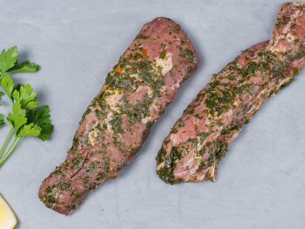 PRE-SEASONED CHIMICHURRI PORK TENDERLOIN, seasoned with Tempesta's lemon and parsley marinade, two 18-24oz roasts