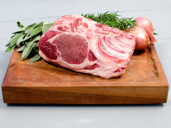 COUNTRY-RIB PORK LOIN ROASTS, Two 1.5-2lb bone-in roasts, perfect to cut into chops and grill or braise as a shoulder/loin roast — Berkshire or Red Wattle