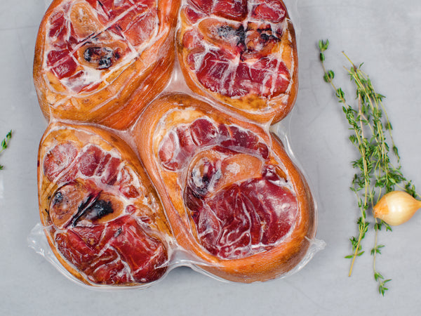 CURED HAM SHANKS, Four pieces, 3lb total — Berkshire