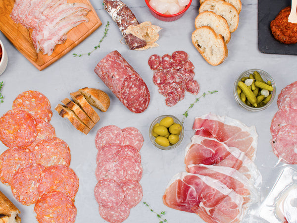 EASY ENTERTAINING GIFT BOX, SLICED PROSCIUTTO, PATE, SALAMI — Ready to eat, just open and serve! America's best artisans curing Heritage breeds