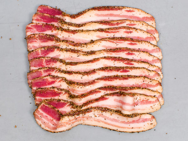 PEPPER-CRUSTED HERITAGE BACON, Maple Sugar Cured with Pepper — Tamworth or Berkshire — Three 1lb packs