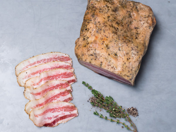 HERITAGE GUANCIALE, two 12-16 oz whole pieces from Tempesta Artisan Salumi — an Italian-style jowl bacon, made from Berkshire pork from our family farms