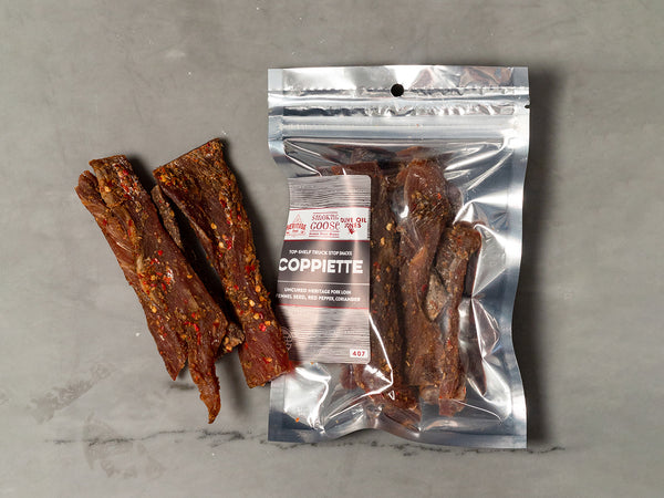 COPPIETTE — Heritage center cut pork loin jerky seasoned with fennel, chile and sea salt — the classic Italian trucker road snack now made in the USA — Two 4 oz packs