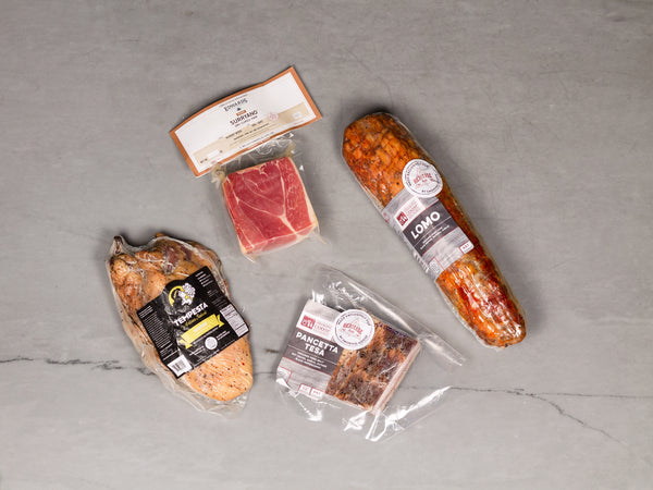CURED MEAT STAPLES KIT, 5lb total — Pancetta, Guanciale, Prosciutto Wedge, and Lomo — 4 must-have ingredients in every kitchen for starting or finishing dishes, or eating on their own