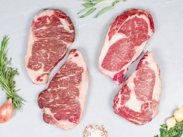 TWO RIBEYE/TWO STRIPS, Four 12oz Steaks, 100% Pure Akaushi — a taste of Japan's prized beef, raised in America