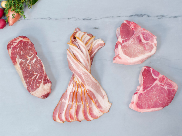 THE SOPHISTI-KIT MONTHLY MEAT KIT, 3.5lb of our 3 best selling cuts packaged for daily life — Steak, Chops & Bacon
