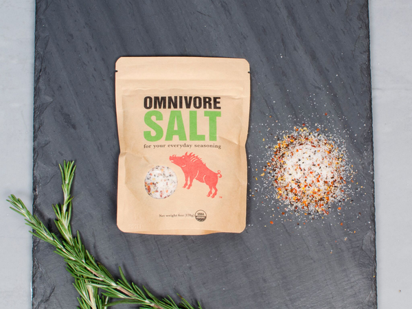 OMNIVORE SALT BLEND — the only seasoning your meat will ever need according to Alice Waters, Michael Pollan, and Werner Herzog! — crafted in San Francisco by legendary forager Angelo Garro — One 6 oz pack