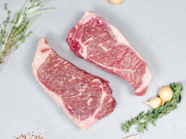 NY STRIP STEAKS, OUR SIGNATURE WAGYU, Four 14-16 oz steaks