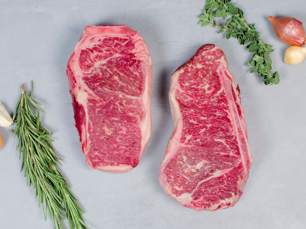 STRIP STEAK, BONE-IN, Three 18-20oz steaks — Wagyu