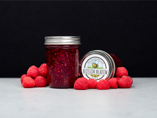 RED RASPBERRY JAM — small batch handmade jam from organic red raspberries grown on Long Island by Blossom Meadow Farm — One 9 oz jar