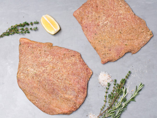 BREADED HERITAGE PORK CUTLETS, 4 servings, about 1.75-2lb total — Red Wattle — loin cutlets in Italian seasoned bread crumbs
