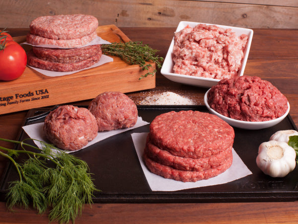 THE HERITAGE BURGER BOX, One 1lb pack each from our pastured heritage breed beef, turkey, pork, lamb, and goat