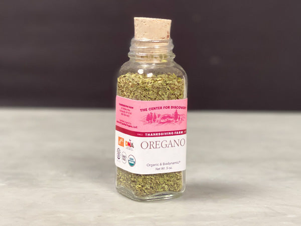 FRESH DRIED ORGANIC OREGANO — strong and bold oregano grown in New York's Catskill Mountains on Thanksgiving Farm — One .5 oz glass jar