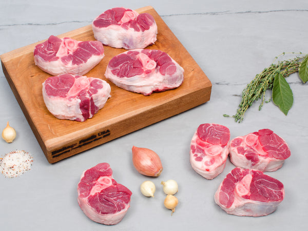 PORK OSSO BUCO, Eight 8-10 oz pieces — Berkshire or Red Wattle — the perfect braising cut — NOW 40% OFF
