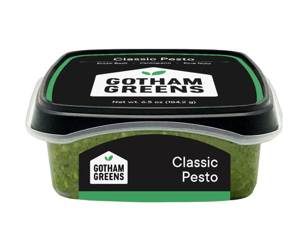 CLASSIC PESTO — traditional Italian-style pesto with parmigiano reggiano, pine nuts, extra virgin olive oil, and sea salt — perfect as a sandwich spread or pasta sauce, made by Gotham Greens — One 6.5 oz package