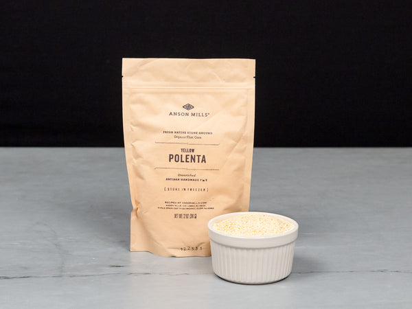 ANSON MILLS FINE YELLOW POLENTA — finely textured, stone-milled heirloom corn polenta from South Carolina — One 12 oz resealable bag