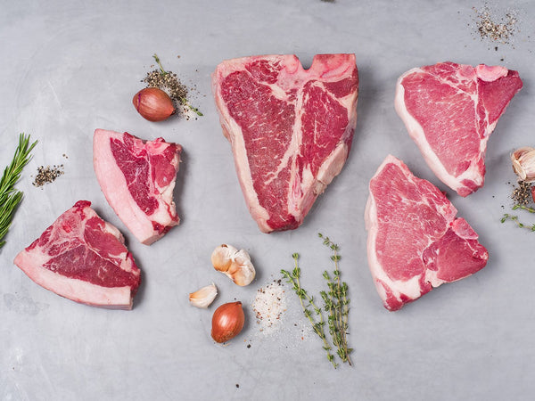 PORTERHOUSE BEEF, LAMB, PORK SAMPLER, 6lb total, Bone-in porterhouse steaks from the best breeds in the world
