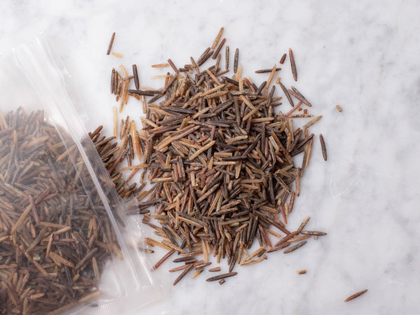 WILD RICE — America's native rice — nutty, highly textured, hand-harvested, and wood parched by members of the White Earth Indian Reservation, 100% organic — One 1lb bag