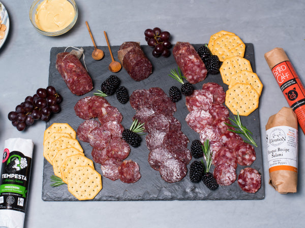 SALAMI HERITAGE KIT, Nostrano, Finocchiona, Red Wattle, Basque, Wagyu Beef Salami, Five 4.5-6 oz pieces total — Free gift box!