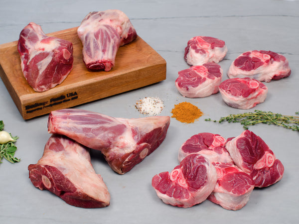 SHANK SAMPLER, 13lb total, Four different varieties of pork and lamb shanks — Our Best Braising Cuts! — NOW 50% OFF