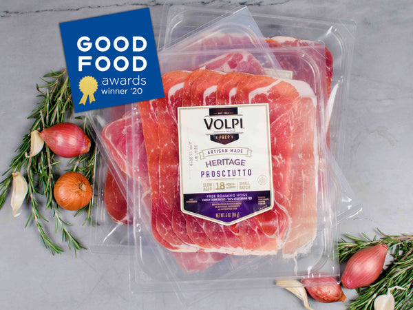 SLICED VOLPI HERITAGE PROSCIUTTO — by Volpi Foods est. 1902 — sweet and nutty, aged 18 months, Four 3 oz packs