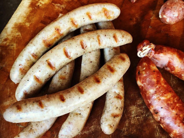 FRUIT WOOD SMOKED HERITAGE SAUSAGE, from Smoking Goose, made with nutmeg, cinnamon, ginger, clove, black peppercorns, and bacon — Three 12 oz packs, 6 links per package — NOW 15% OFF