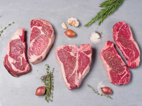 PORTERHOUSE, STRIP, RIBEYE SAMPLER, Three cuts, five steaks total, 5.5-6lb. — Our Signature Wagyu