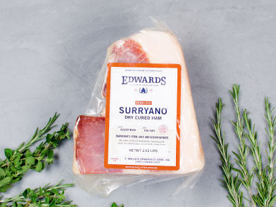 EDWARDS HERITAGE SURRYANO from Edwards Virginia Smokehouse est. 1926 — salted and hickory smoked, aged 14-24 months — boneless, one ham, 9-11lb