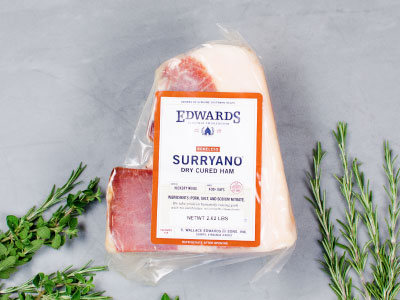 EDWARDS HERITAGE SURRYANO — salted and hickory smoked, aged 16-24 months by Edwards Virginia Smokehouse est. 1926 — one 8-9lb boneless ham — NOW 33% OFF