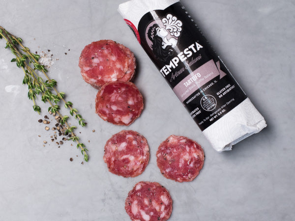HERITAGE TARTUFO BLACK TRUFFLE SALAMI, Three 5 oz packs, Tempesta Artisans — seasoned with real black truffles, Tellicherry pepper, and salt